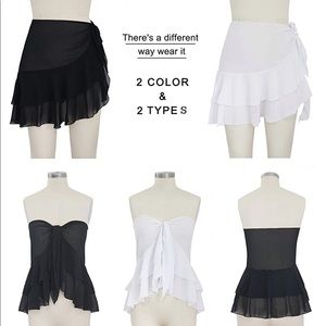 2 Cover-Up RUFFLE SKIRTS Swimsuit Black &White S/M